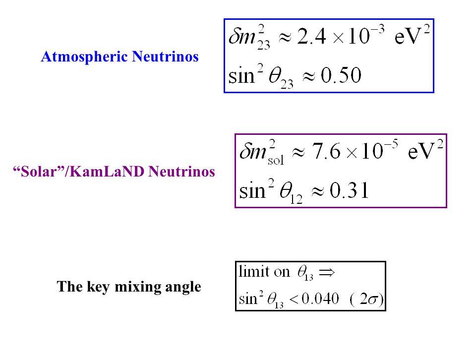 Atmospheric Neutrinos Solar /KamLaND Neutrinos The key mixing angle