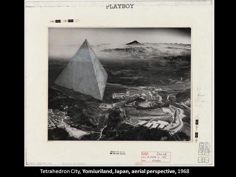 Tetrahedron City, Yomiuriland, Japan, aerial perspective, 1968