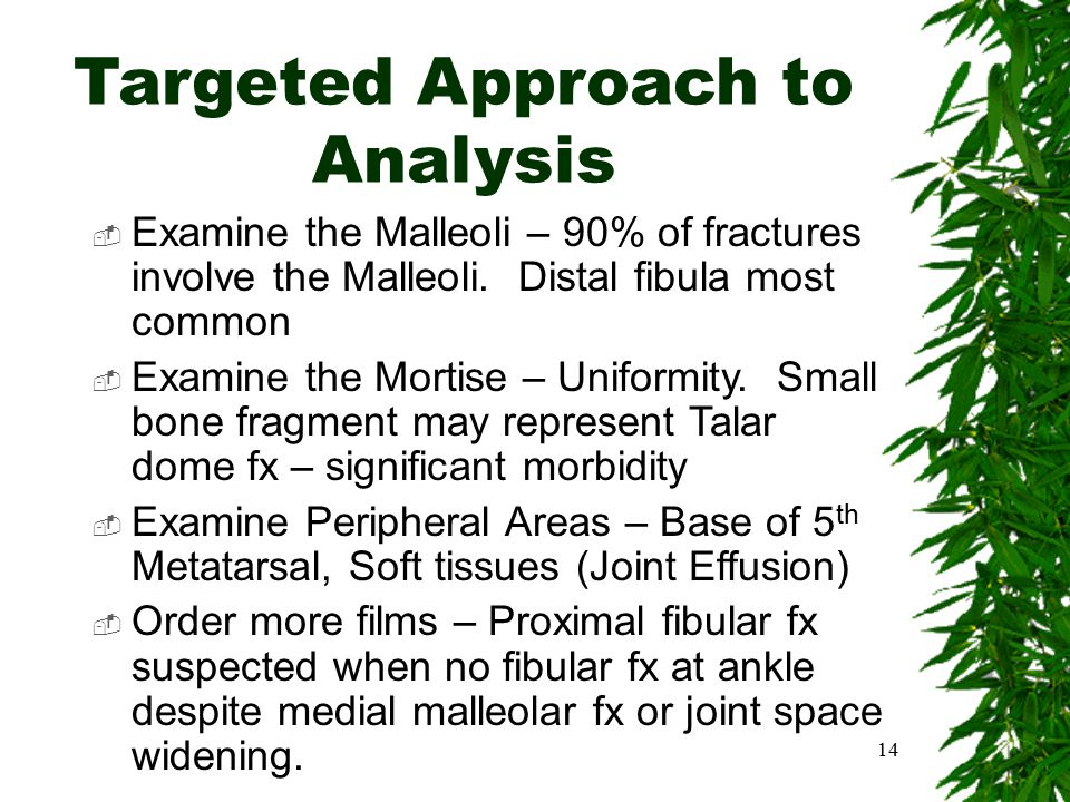 Targeted Approach to Analysis  Examine the Malleoli – 90% of fractures involve the Malleoli. Distal fibula most common  Examine the Mortise – Unifor
