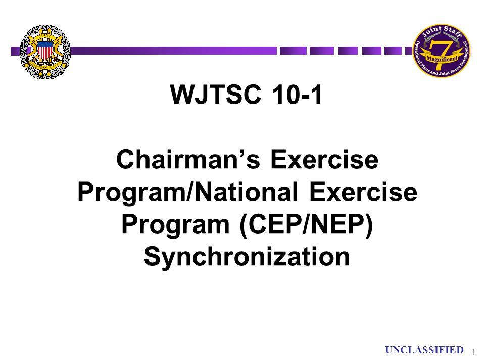 UN UNCLASSIFIED 1 WJTSC 10-1 Chairman's Exercise Program/National Exercise Program (CEP/NEP) Synchronization