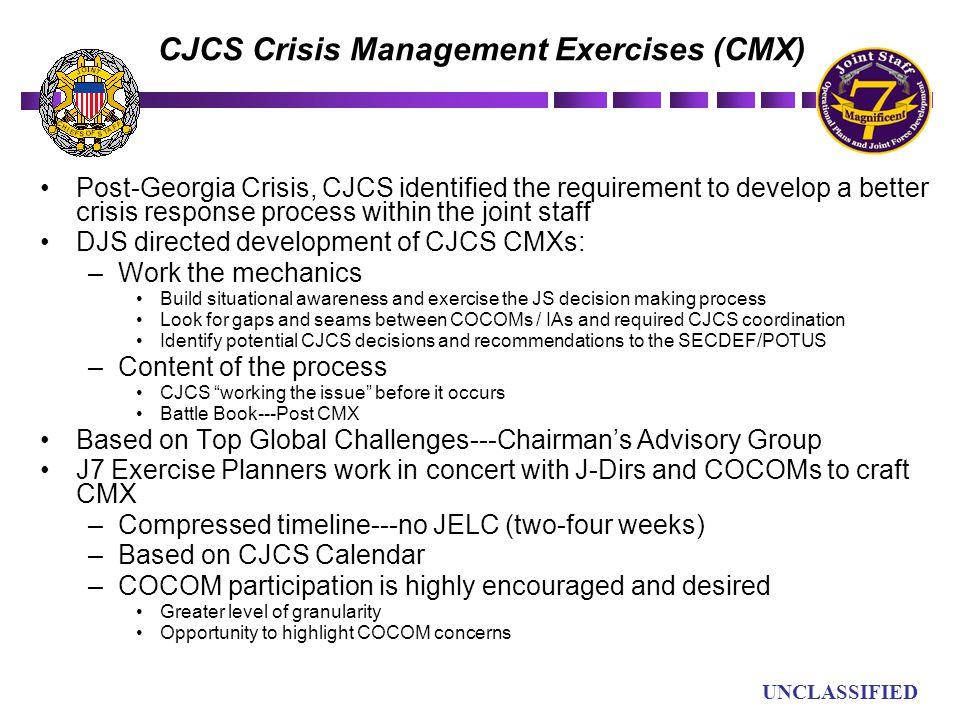 UN UNCLASSIFIED CJCS Crisis Management Exercises (CMX) Post-Georgia Crisis, CJCS identified the requirement to develop a better crisis response proces