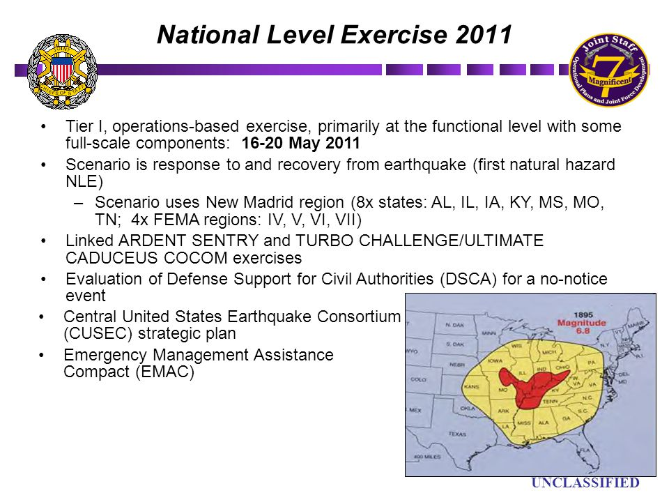 UN UNCLASSIFIED National Level Exercise 2011 Tier I, operations-based exercise, primarily at the functional level with some full-scale components: 16-