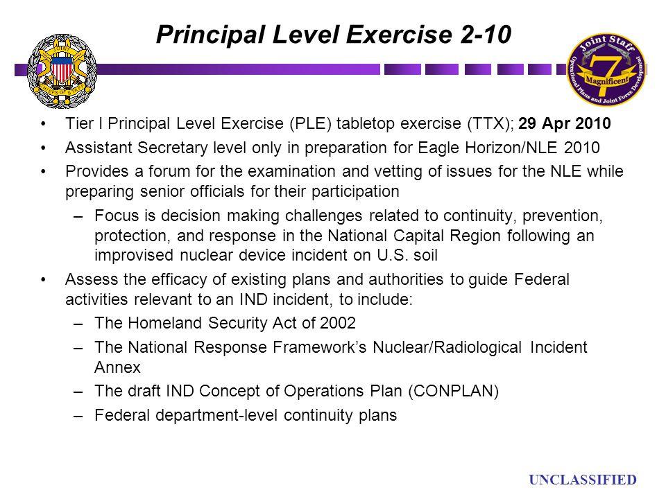 UN UNCLASSIFIED Principal Level Exercise 2-10 Tier I Principal Level Exercise (PLE) tabletop exercise (TTX); 29 Apr 2010 Assistant Secretary level onl