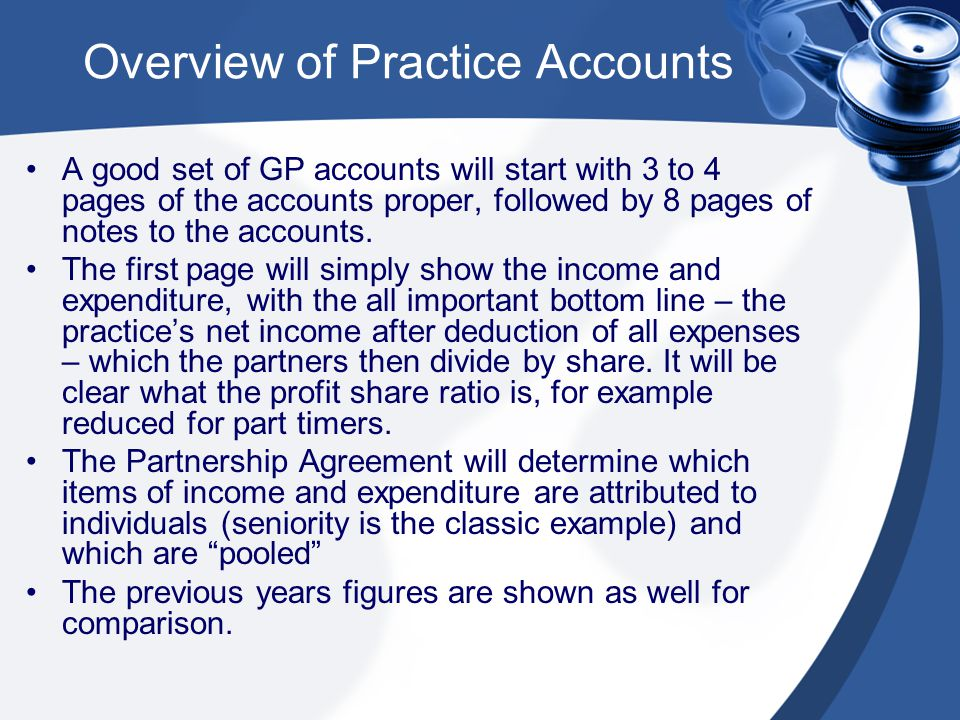 A good set of GP accounts will start with 3 to 4 pages of the accounts proper, followed by 8 pages of notes to the accounts.