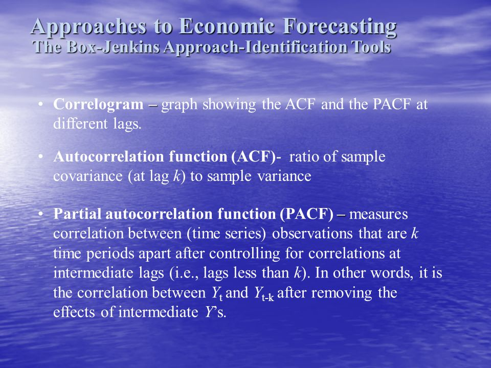 Approaches to Economic Forecasting The Box-Jenkins Approach-Identification Tools Autocorrelation function (ACF)- ratio of sample covariance (at lag k)