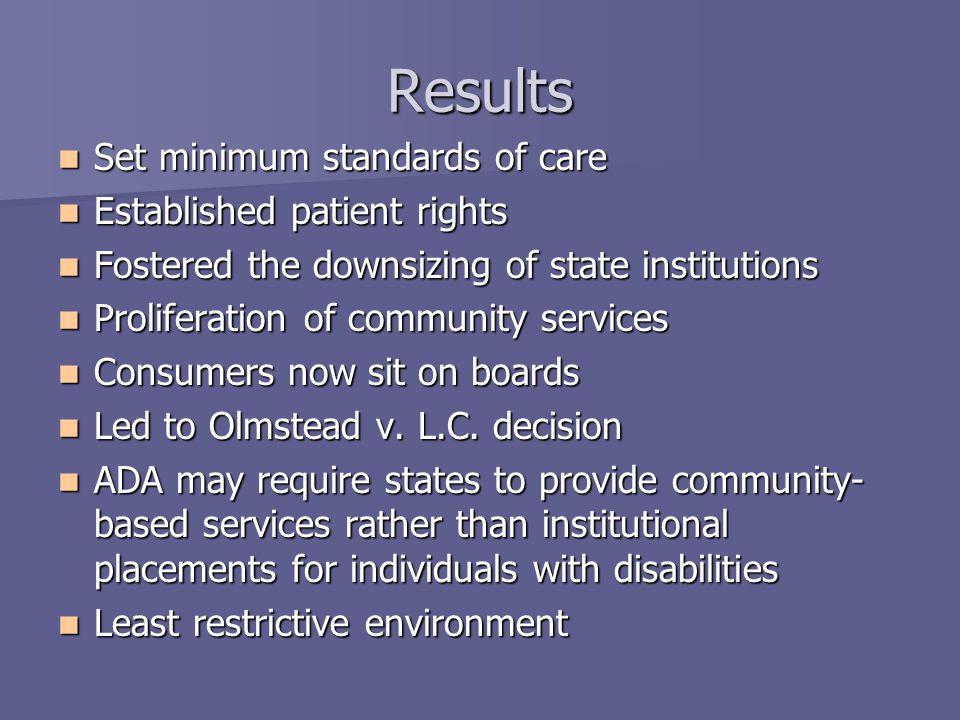 Results Set minimum standards of care Set minimum standards of care Established patient rights Established patient rights Fostered the downsizing of s