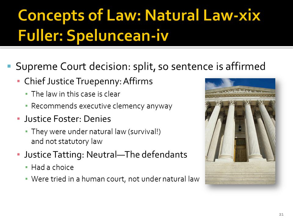  Supreme Court decision: split, so sentence is affirmed ▪ Chief Justice Truepenny: Affirms ▪ The law in this case is clear ▪ Recommends executive clemency anyway ▪ Justice Foster: Denies ▪ They were under natural law (survival!) and not statutory law ▪ Justice Tatting: Neutral—The defendants ▪ Had a choice ▪ Were tried in a human court, not under natural law 21