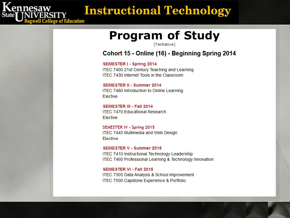 Program of Study (Tentative)