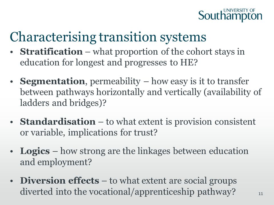 Characterising transition systems Stratification – what proportion of the cohort stays in education for longest and progresses to HE.