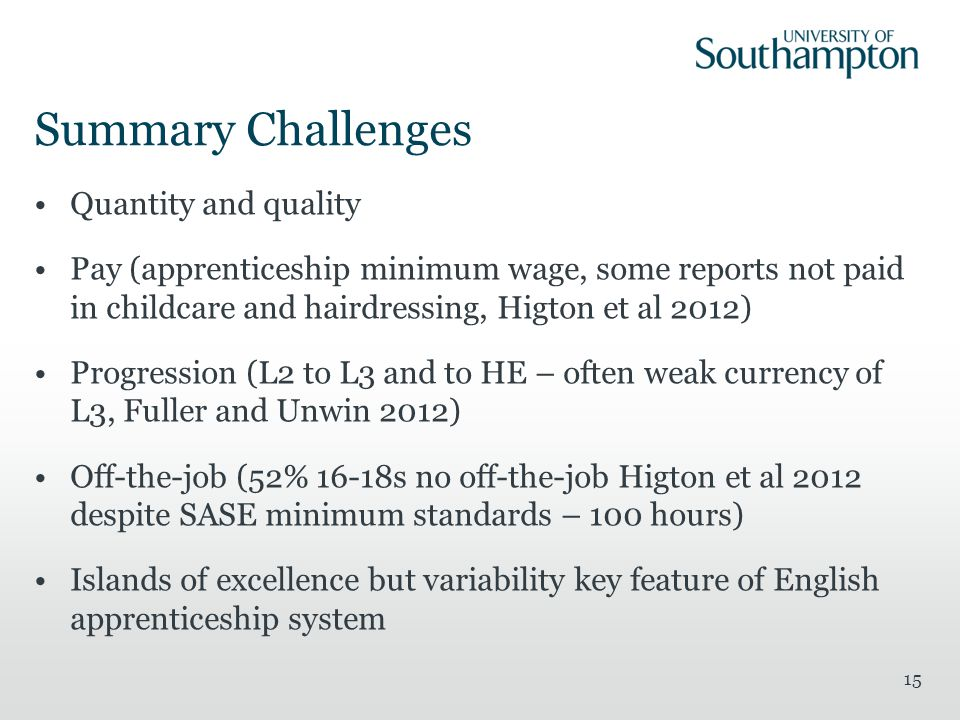 Summary Challenges Quantity and quality Pay (apprenticeship minimum wage, some reports not paid in childcare and hairdressing, Higton et al 2012) Progression (L2 to L3 and to HE – often weak currency of L3, Fuller and Unwin 2012) Off-the-job (52% 16-18s no off-the-job Higton et al 2012 despite SASE minimum standards – 100 hours) Islands of excellence but variability key feature of English apprenticeship system 15
