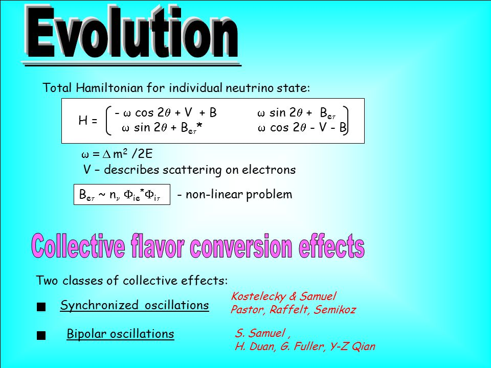 Total Hamiltonian for individual neutrino state: H = -  cos 2  + V + B  sin 2  + B e   sin 2  + B e  *  cos 2  - V - B  m 2 /2E V – d
