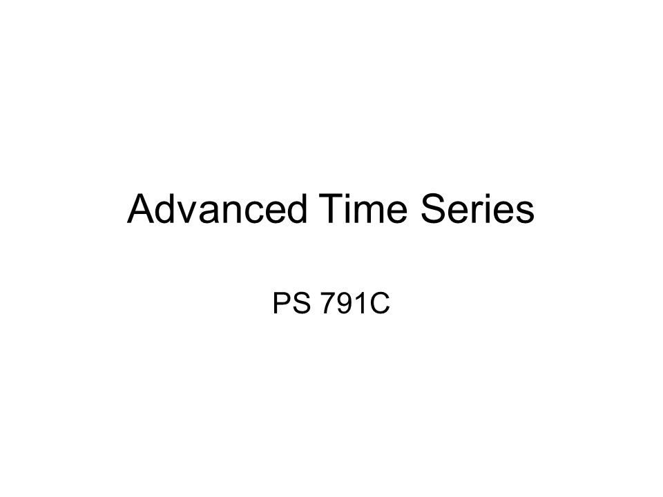 Advanced Time Series Techniques A number of topics come under the general heading of state-of-the-art time series –Unit Root tests –Granger Causality –Vector Autoregression Models –Error Correction Models –Co-Integration Models –Fractional Integration