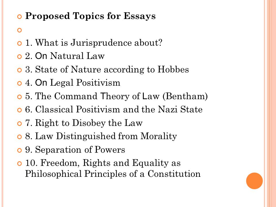 Proposed Topics for Essays 1. What is Jurisprudence about? 2. On Natural Law 3. State of Nature according to Hobbes 4. On Legal Positivism 5. The Comm