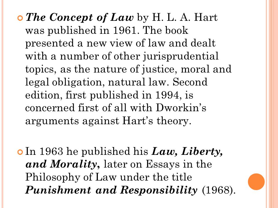 The Concept of Law by H. L. A. Hart was published in 1961. The book presented a new view of law and dealt with a number of other jurisprudential topic