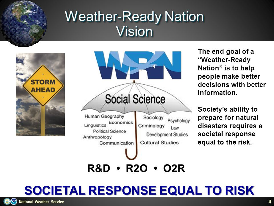 """National Weather Service Weather-Ready Nation Vision 4 SOCIETAL RESPONSE EQUAL TO RISK R&D R2O O2R The end goal of a """"Weather-Ready Nation"""" is to help"""