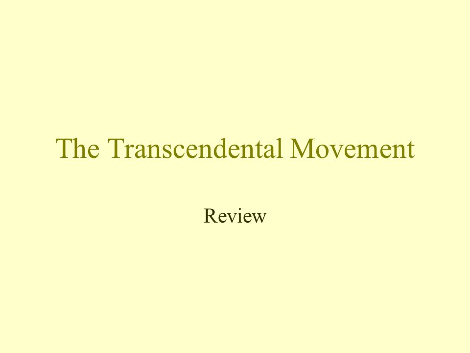 The Transcendental Movement Review