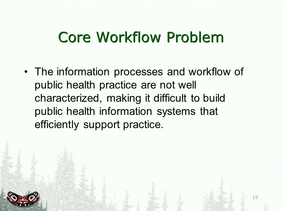 19 Core Workflow Problem The information processes and workflow of public health practice are not well characterized, making it difficult to build public health information systems that efficiently support practice.