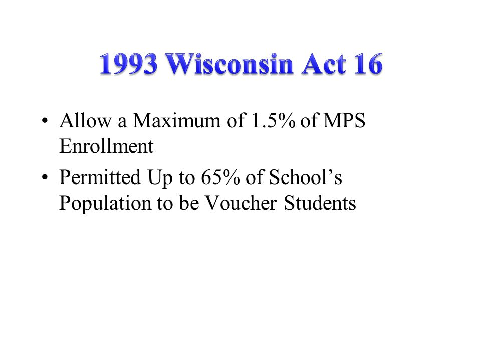 Allow a Maximum of 1.5% of MPS Enrollment Permitted Up to 65% of School's Population to be Voucher Students