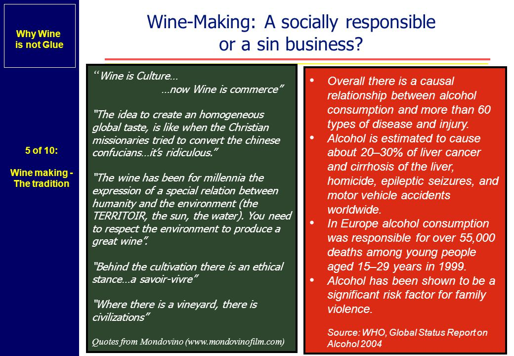 Wine-Making: A socially responsible or a sin business.
