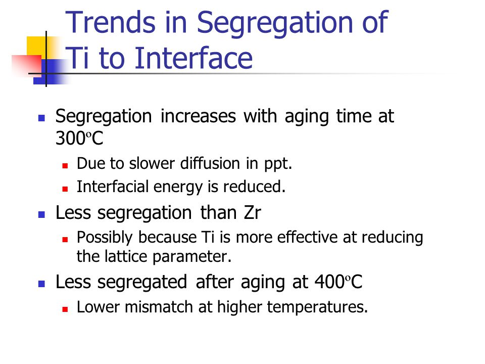 Trends in Segregation of Ti to Interface Segregation increases with aging time at 300 º C Due to slower diffusion in ppt.