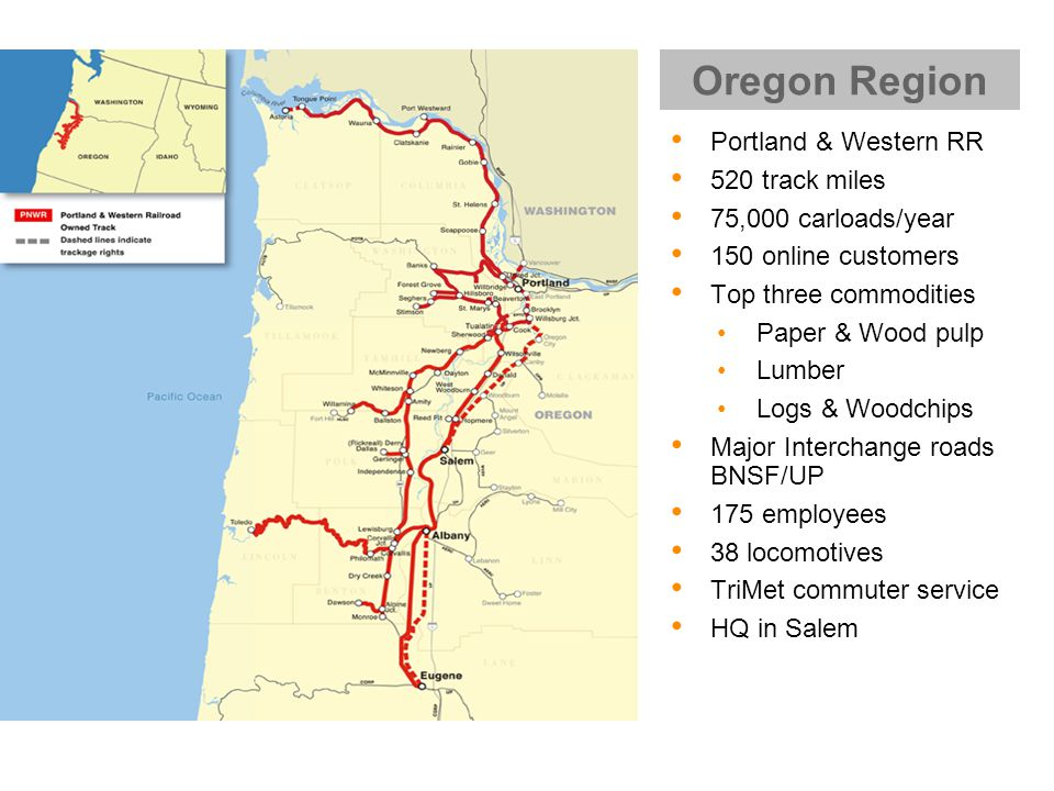 Portland & Western RR 520 track miles 75,000 carloads/year 150 online customers Top three commodities Paper & Wood pulp Lumber Logs & Woodchips Major Interchange roads BNSF/UP 175 employees 38 locomotives TriMet commuter service HQ in Salem Oregon Region