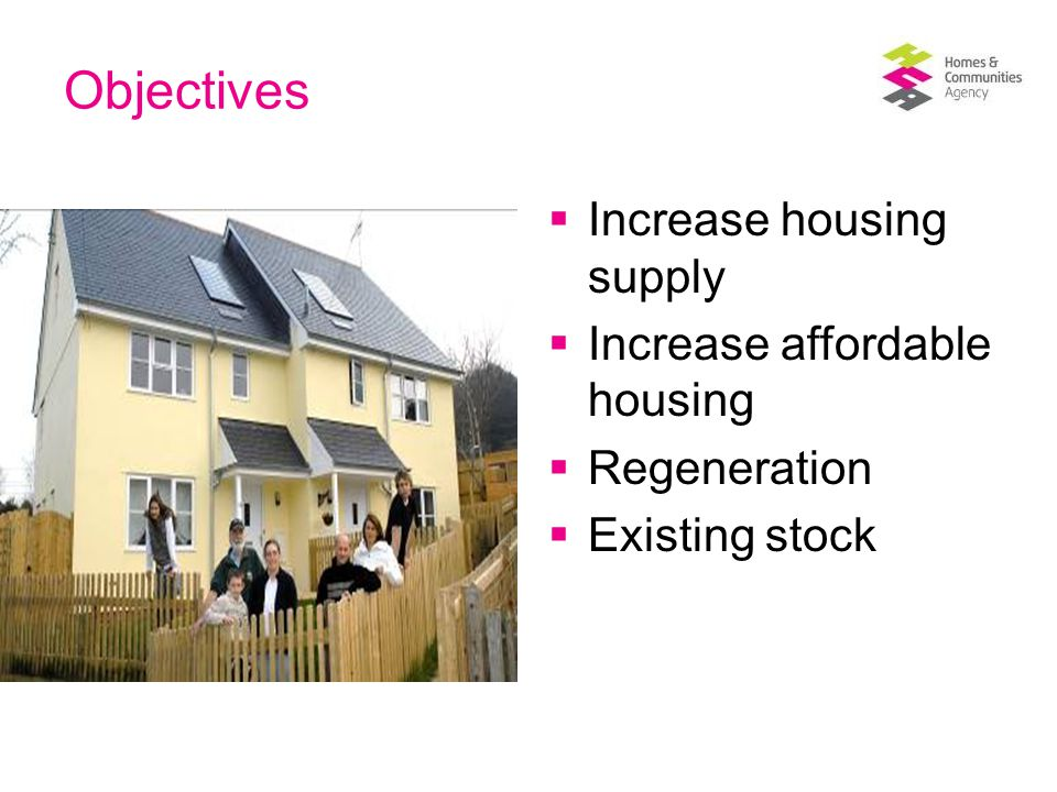 Objectives  Increase housing supply  Increase affordable housing  Regeneration  Existing stock