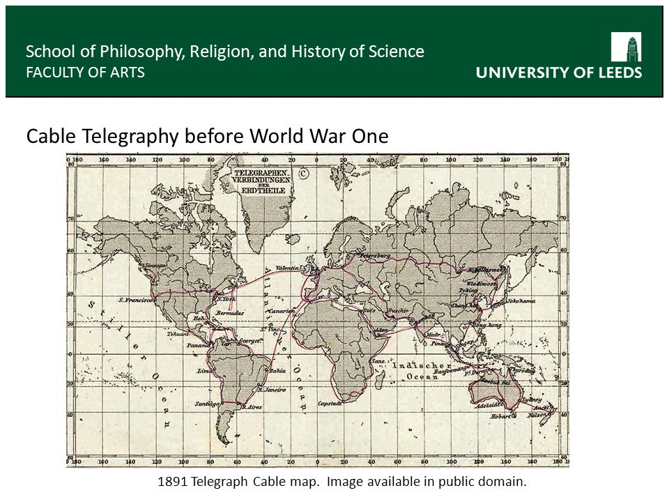 Cable Telegraphy before World War One School of Philosophy, Religion, and History of Science FACULTY OF ARTS 1891 Telegraph Cable map.