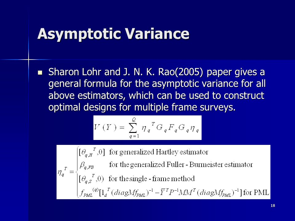 18 Asymptotic Variance Sharon Lohr and J.N. K.