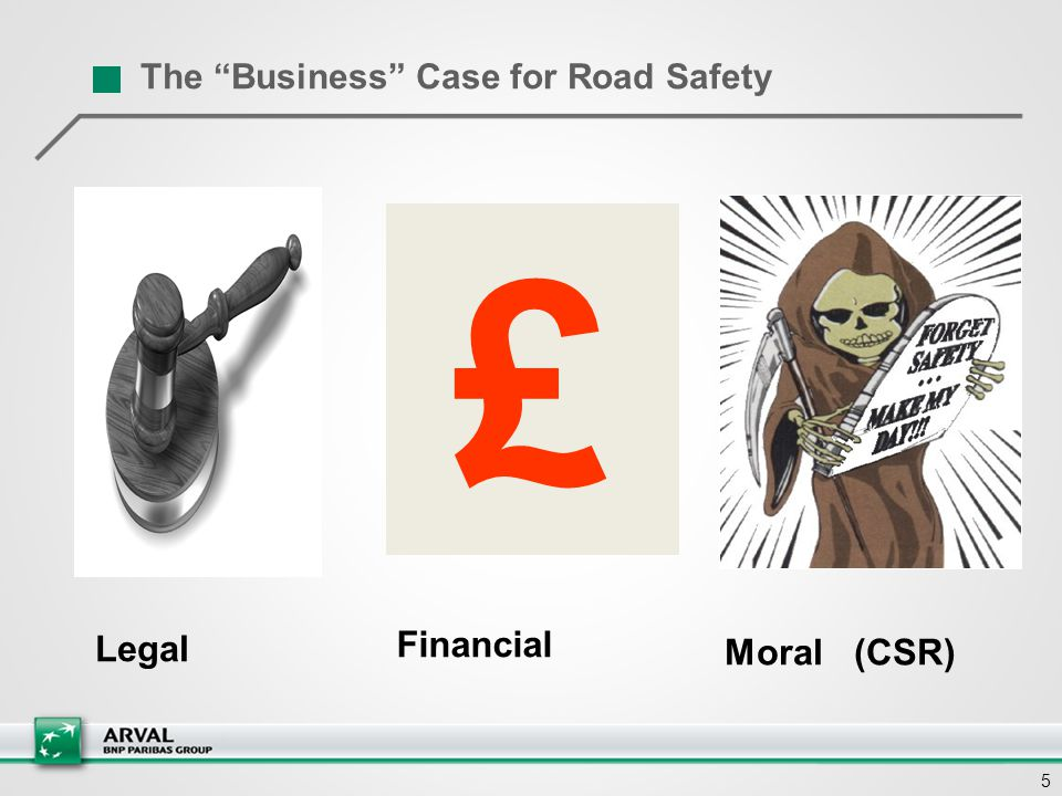 "5 The ""Business"" Case for Road Safety £ Legal Moral (CSR) Financial"