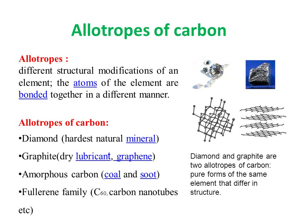 Allotropes of carbon Allotropes of carbon: Diamond (hardest natural mineral)mineral Graphite(dry lubrican t, graphene)lubrican t graphene Amorphous carbon (coal and soot)coalsoot Fullerene family (C 60, carbon nanotubes etc) Allotropes : different structural modifications of an element; the atoms of the element are bonded together in a different manner.atoms bonded Diamond and graphite are two allotropes of carbon: pure forms of the same element that differ in structure.