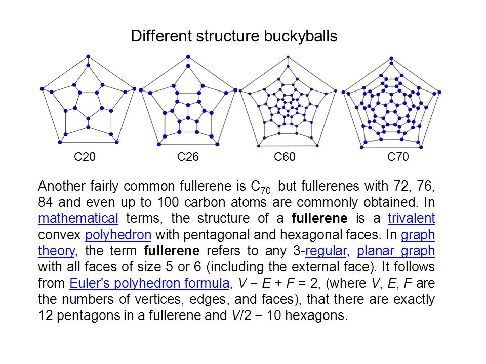 Another fairly common fullerene is C 70, but fullerenes with 72, 76, 84 and even up to 100 carbon atoms are commonly obtained. In mathematical terms,