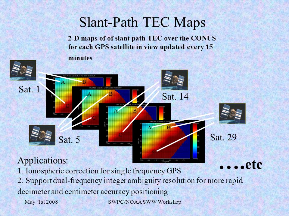 May 1st 2008SWPC/NOAA SWW Workshop Slant-Path TEC Maps 2-D maps of of slant path TEC over the CONUS for each GPS satellite in view updated every 15 minutes Applications: 1.