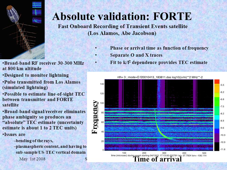 May 1st 2008SWPC/NOAA SWW Workshop Absolute validation: FORTE Fast Onboard Recording of Transient Events satellite (Los Alamos, Abe Jacobson) Phase or arrival time as function of frequency Separate O and X traces Fit to k/f 2 dependence provides TEC estimate Time of arrival Frequency Broad-band RF receiver 30-300 MHz at 800 km altitude Designed to monitor lightning Pulse transmitted from Los Alamos (simulated lightning) Possible to estimate line-of-sight TEC between transmitter and FORTE satellite Broad-band signal/receiver eliminates phase ambiguity so produces an absolute TEC estimate (uncertainty estimate is about 1 to 2 TEC units) Issues are –bending of the rays, –plasmaspheric content, and having to sub-sample US-TEC vertical domain
