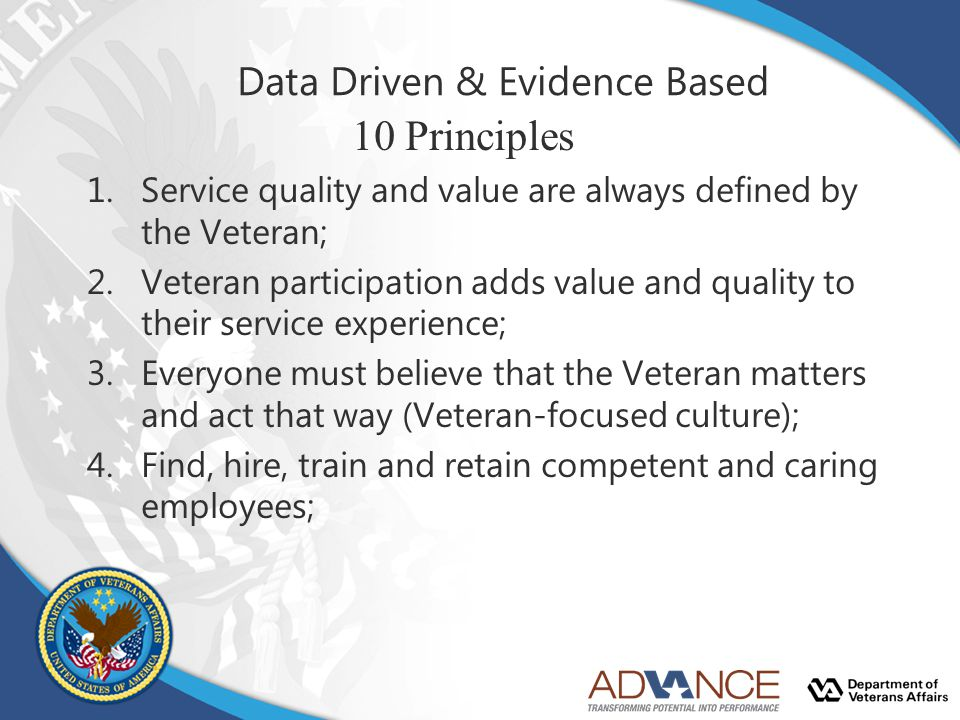 Data Driven & Evidence Based 10 Principles 1.Service quality and value are always defined by the Veteran; 2.Veteran participation adds value and quali