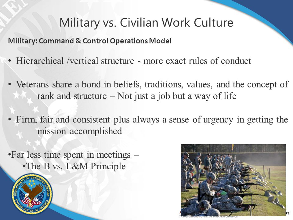 Military vs. Civilian Work Culture Military: Command & Control Operations Model Hierarchical /vertical structure - more exact rules of conduct Veteran
