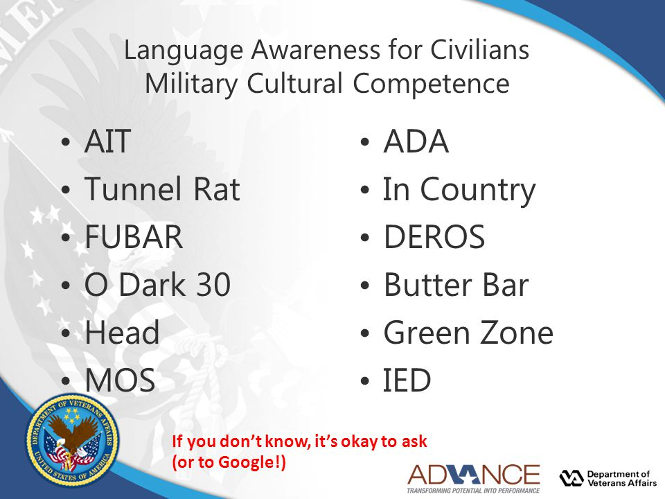Language Awareness for Civilians Military Cultural Competence AIT Tunnel Rat FUBAR O Dark 30 Head MOS ADA In Country DEROS Butter Bar Green Zone IED I