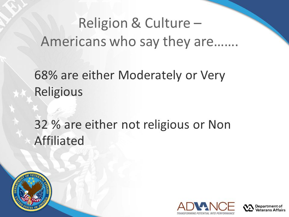 Religion & Culture – Americans who say they are……. 68% are either Moderately or Very Religious 32 % are either not religious or Non Affiliated