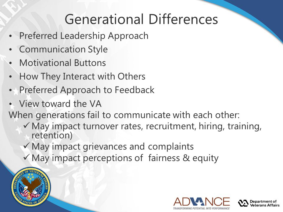 Generational Differences Preferred Leadership Approach Communication Style Motivational Buttons How They Interact with Others Preferred Approach to Fe