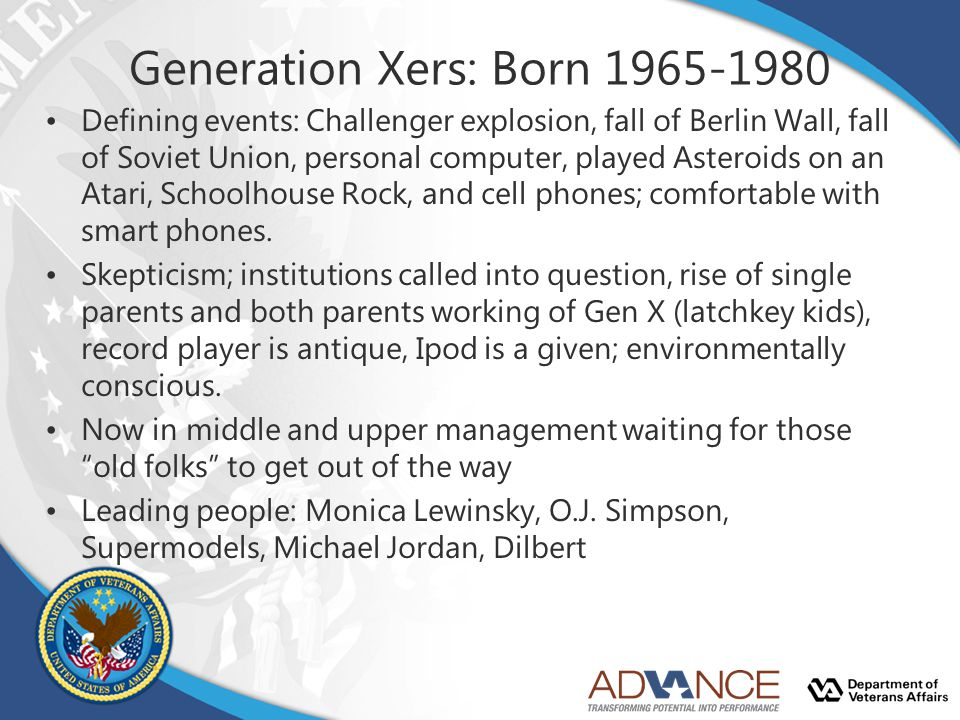 Generation Xers: Born 1965-1980 Defining events: Challenger explosion, fall of Berlin Wall, fall of Soviet Union, personal computer, played Asteroids