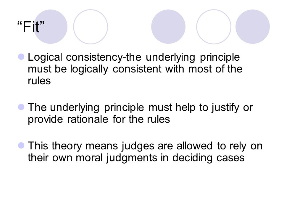 Fit Logical consistency-the underlying principle must be logically consistent with most of the rules The underlying principle must help to justify or provide rationale for the rules This theory means judges are allowed to rely on their own moral judgments in deciding cases