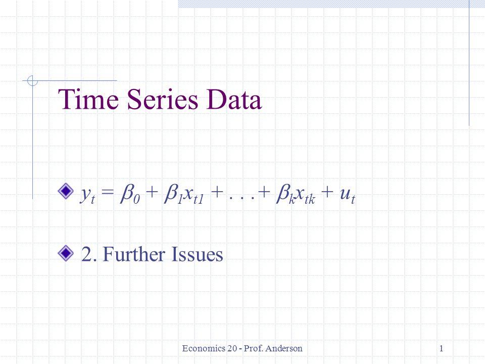 Economics 20 - Prof. Anderson1 Time Series Data y t =  0 +  1 x t1 +...+  k x tk + u t 2.