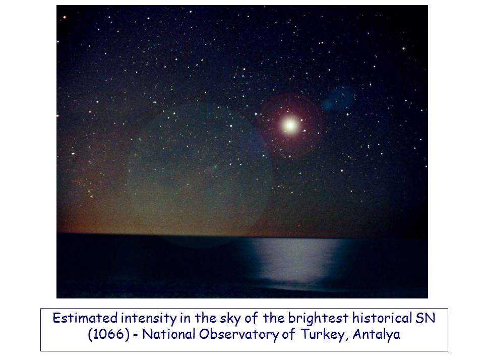 Estimated intensity in the sky of the brightest historical SN (1066) - National Observatory of Turkey, Antalya