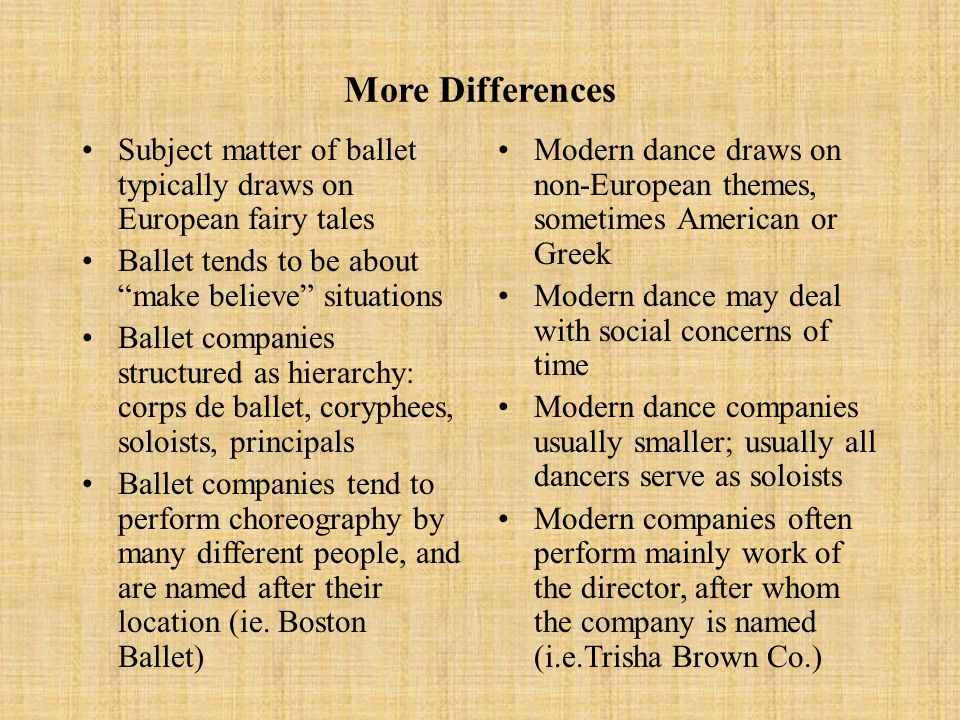 Differences Between Ballet and Modern Dance: Movement Ballet conceived on grand scale, with opera house in mind Strives to defy gravity Looks to European traditions All ballet movement starts and ends with the 5 positions Focus on arms and legs Modern dance usually designed for smaller spaces May give into gravity or defy it Looks within the individual Modern dance may use ballet positions but has as many additional positions as needed by choreographer Focus on torso