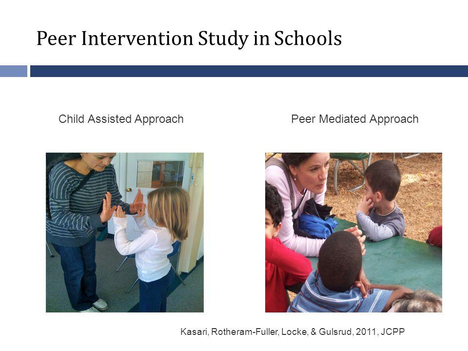 Peer Related School Intervention Study Peer Intervention Study in Schools Peer Mediated ApproachChild Assisted Approach Kasari, Rotheram-Fuller, Locke, & Gulsrud, 2011, JCPP