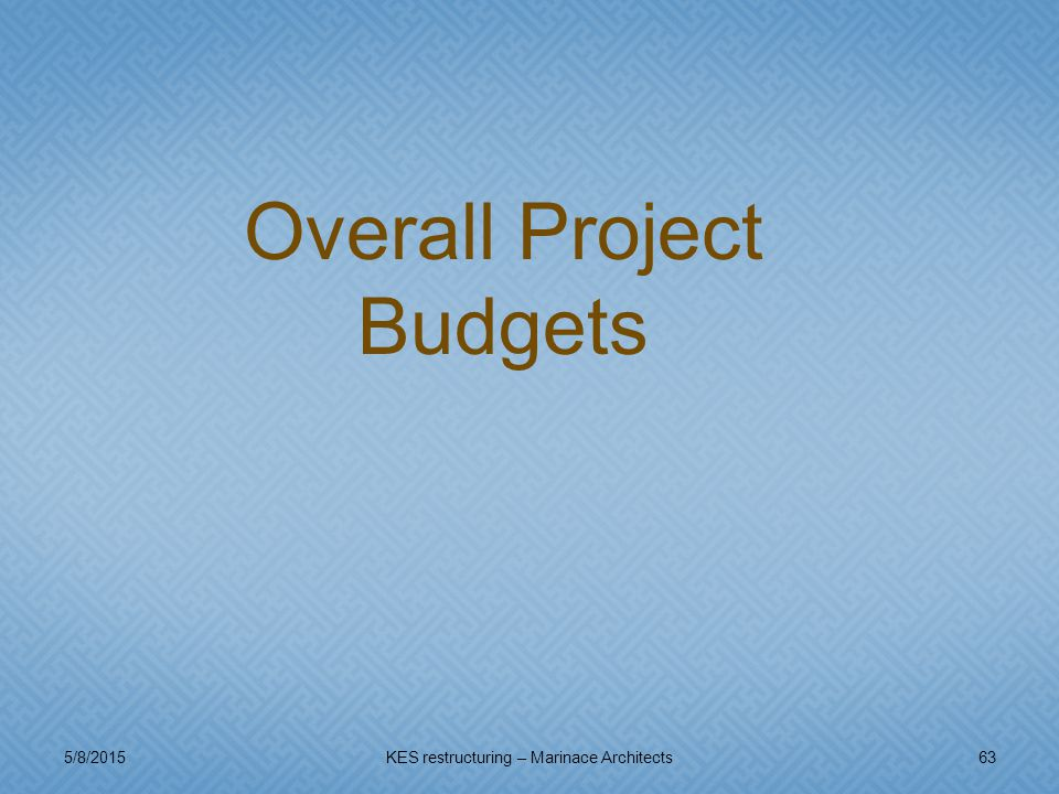 5/8/201563KES restructuring – Marinace Architects Overall Project Budgets