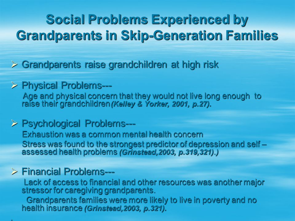 Social Problems Experienced by Grandparents in Skip-Generation Families  Grandparents raise grandchildren at high risk  Physical Problems--- Age and