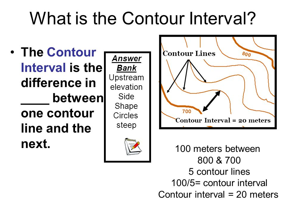 What is the Contour Interval? The Contour Interval is the difference in ____ between one contour line and the next. 100 meters between 800 & 700 5 con