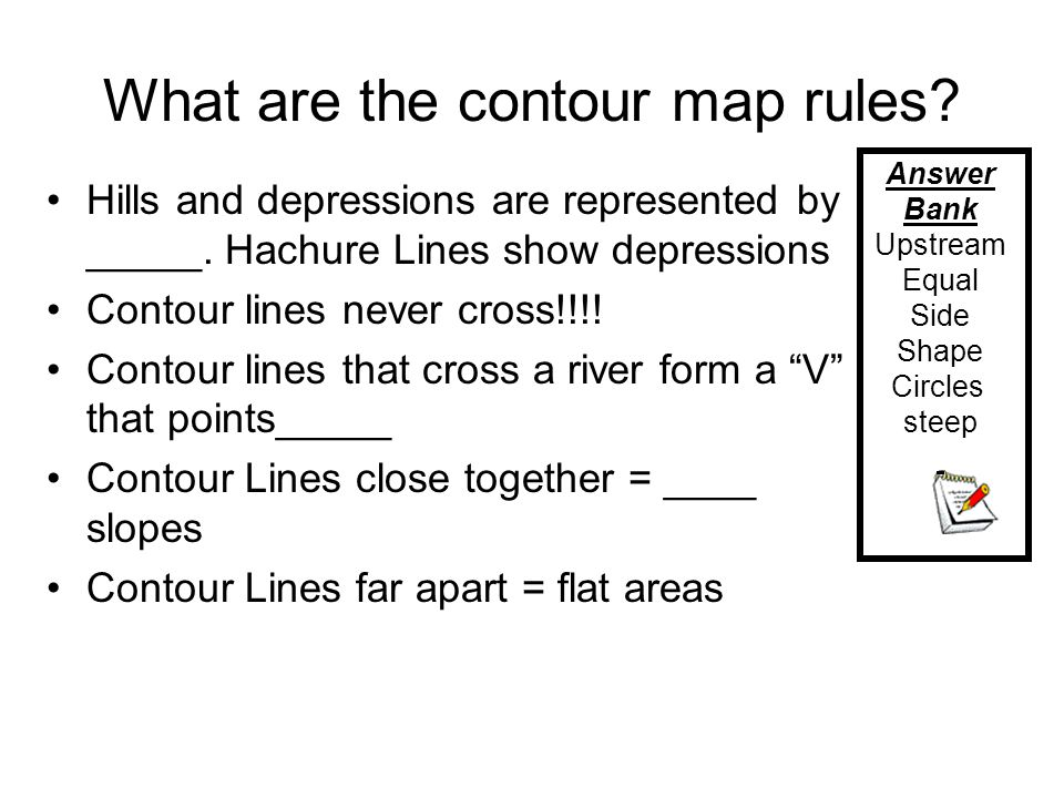 What are the contour map rules? Hills and depressions are represented by _____. Hachure Lines show depressions Contour lines never cross!!!! Contour l