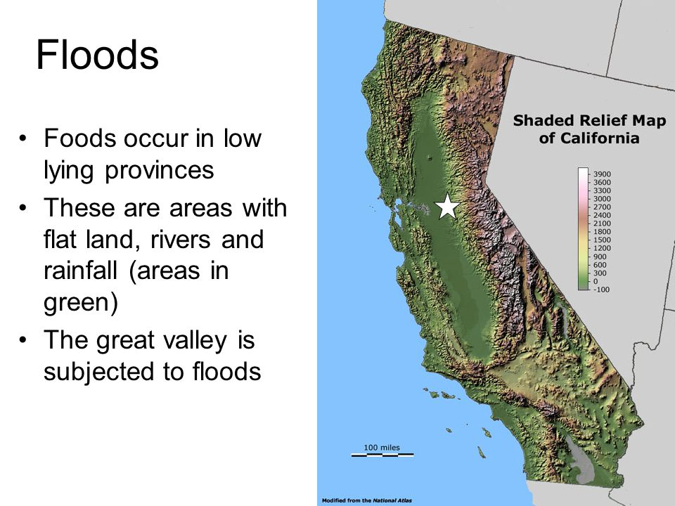 Floods Foods occur in low lying provinces These are areas with flat land, rivers and rainfall (areas in green) The great valley is subjected to floods