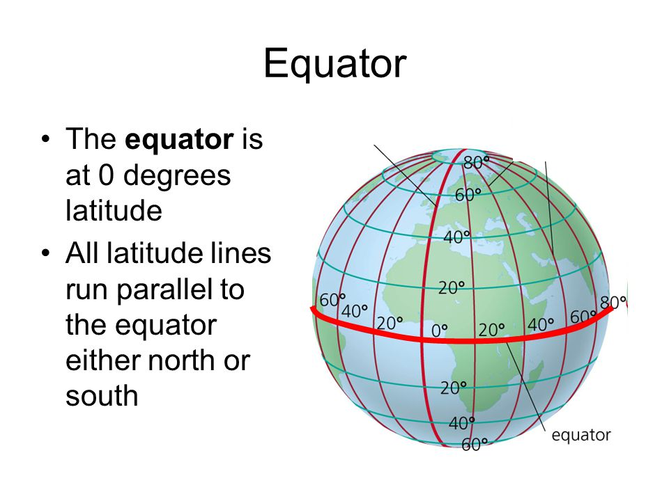 The equator is at 0 degrees latitude All latitude lines run parallel to the equator either north or south